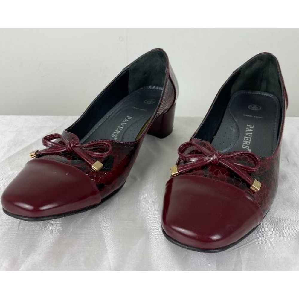Preview of the first image of Pavers Heeled Court Shoes Wine Size: 8.