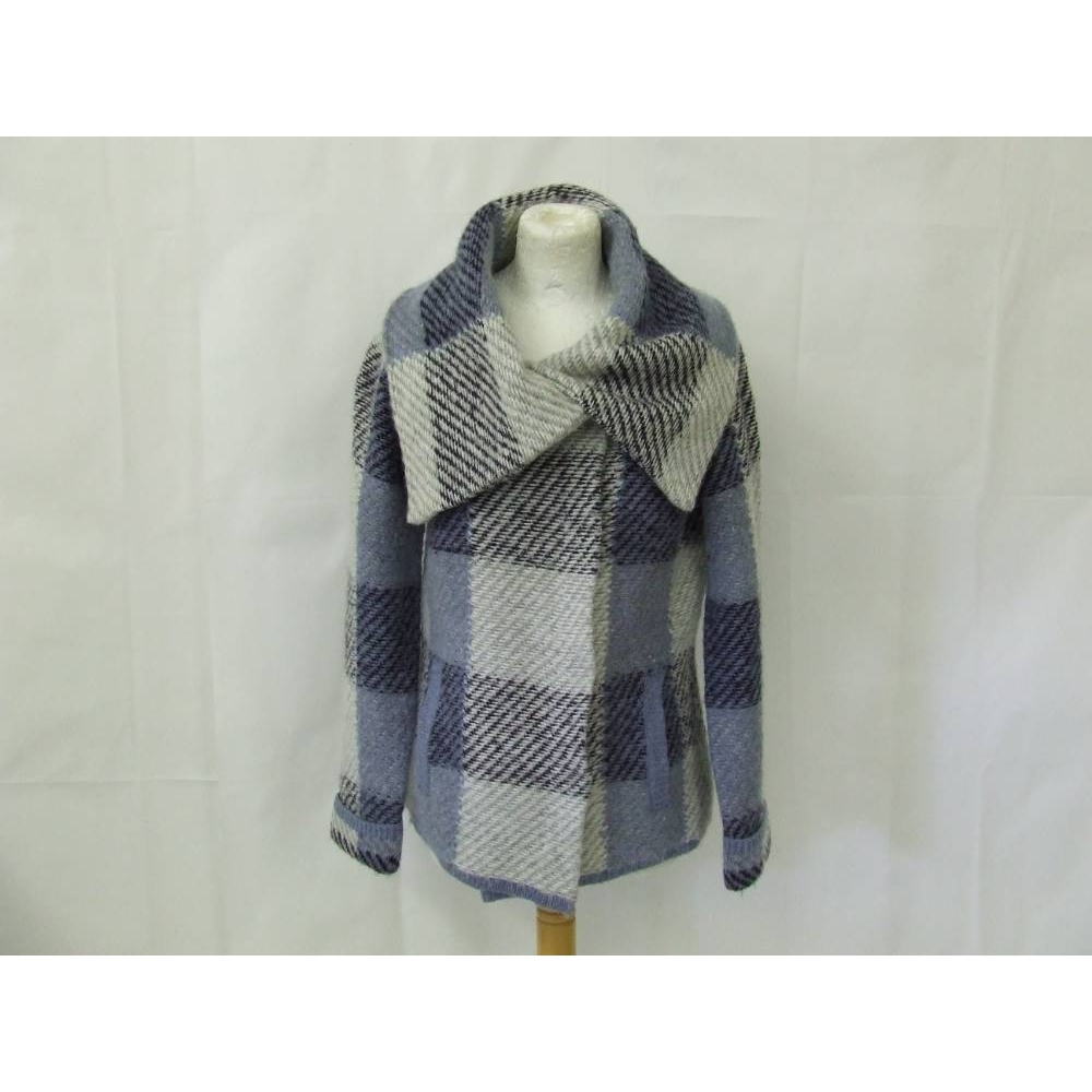 Preview of the first image of Per Una marks and spencer  jacket cardigan coatigan cosy  blue check wool Size: M.