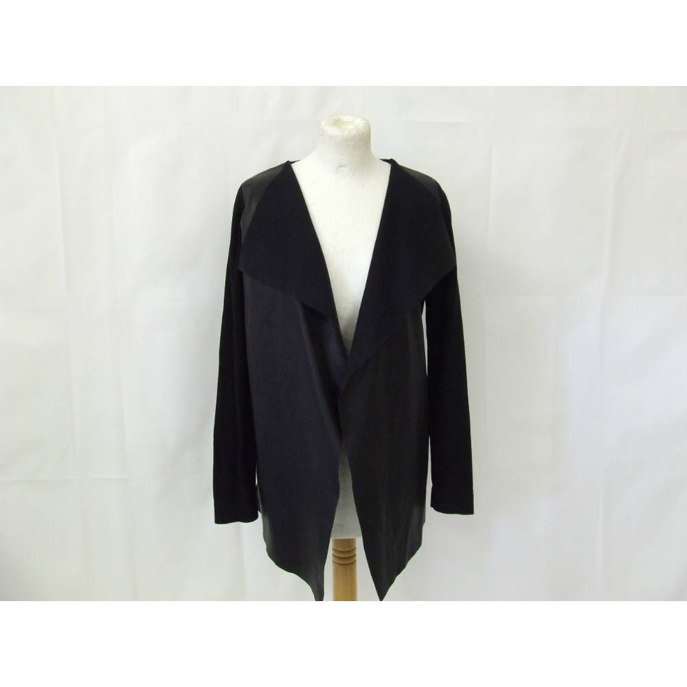 Preview of the first image of Zara Knit waterfall cardigan stretch jumper faux leather  plain black Size: M.
