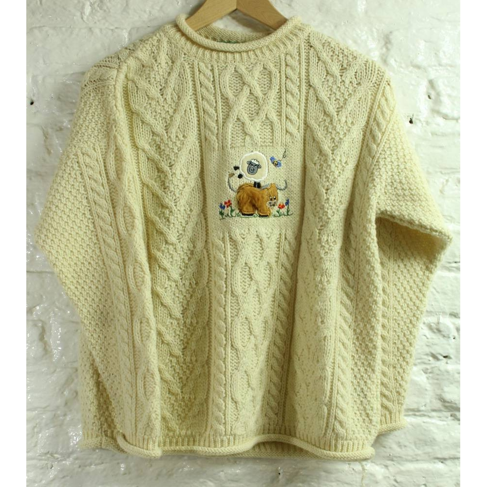 Preview of the first image of Mac Baaaa Cable Knit Applique Jumper Cream  Size: 11 - 12 Years.