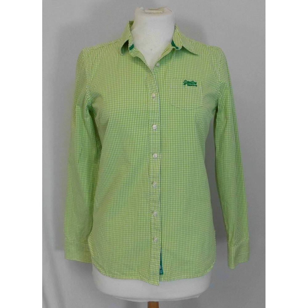 Preview of the first image of SuperDry blouse green and white Size: S.