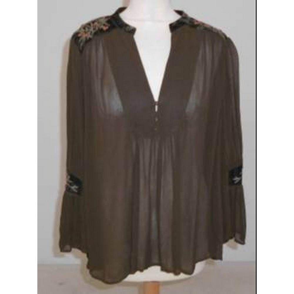 Preview of the first image of Zara Basic Chiffon Tunic Top Brown Size: M.