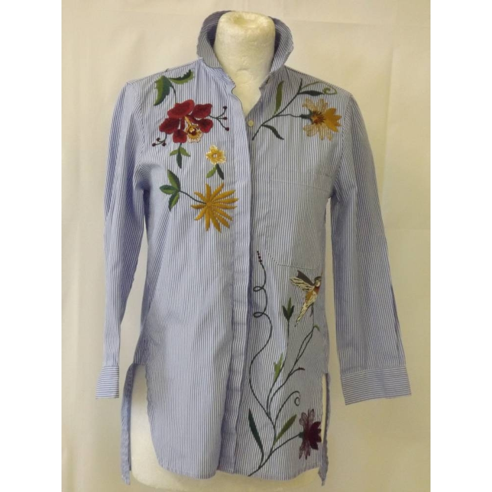Preview of the first image of Zara striped embroidered shirt floral poplin blouse smart  blue white top Size: XS.