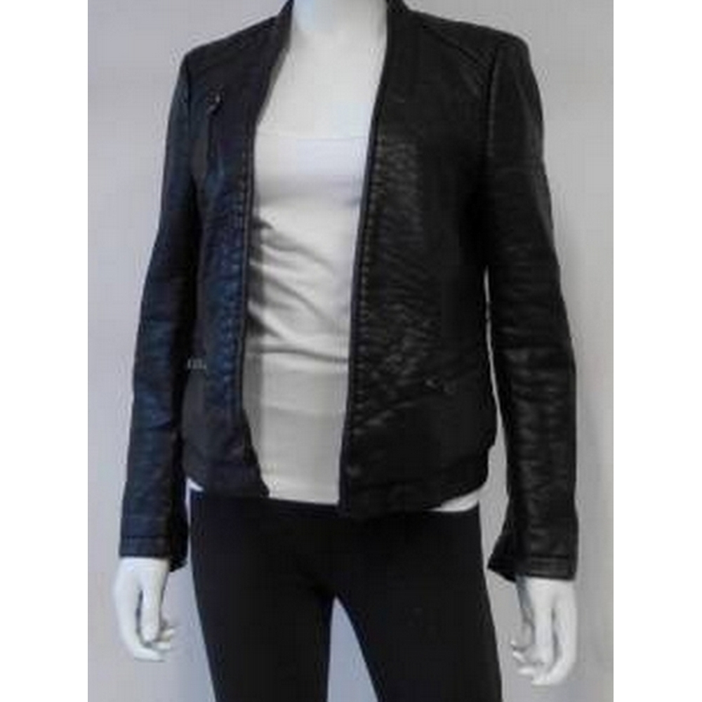 Preview of the first image of Zara Faux Leather Jacket Black Size: 8.