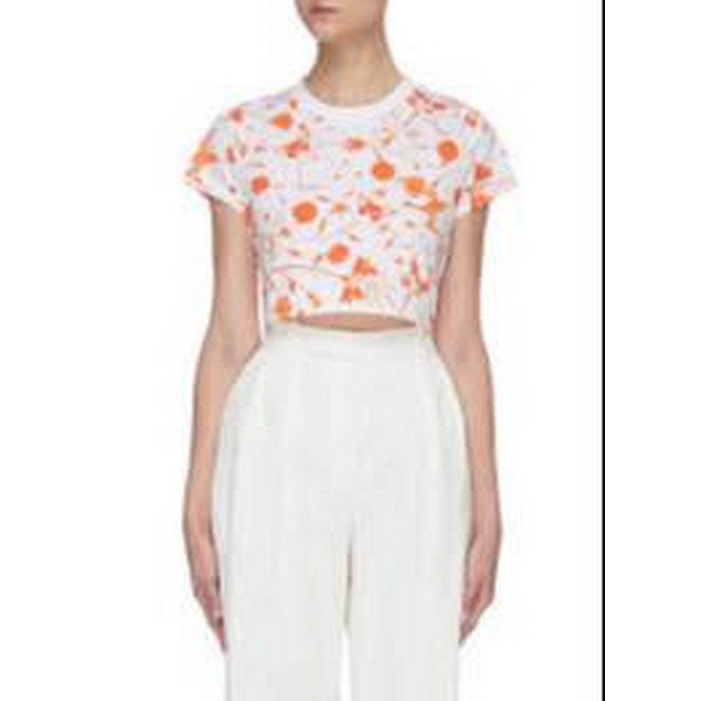 Preview of the first image of Fiorucci All Over Print Crop Tshirt White & Orange Size: XS.