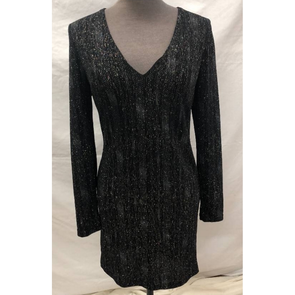 Preview of the first image of Topshop Fitted Short Corset Tunic Dress Black Sparkle Size: 12.