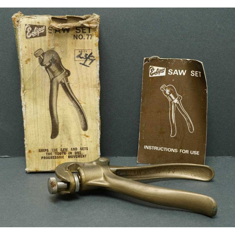 """Preview of the first image of Vintage ECLIPSE """"Saw Set Nr 77"""" Saw Tooth Setting Tool in Original Box & Instructions."""