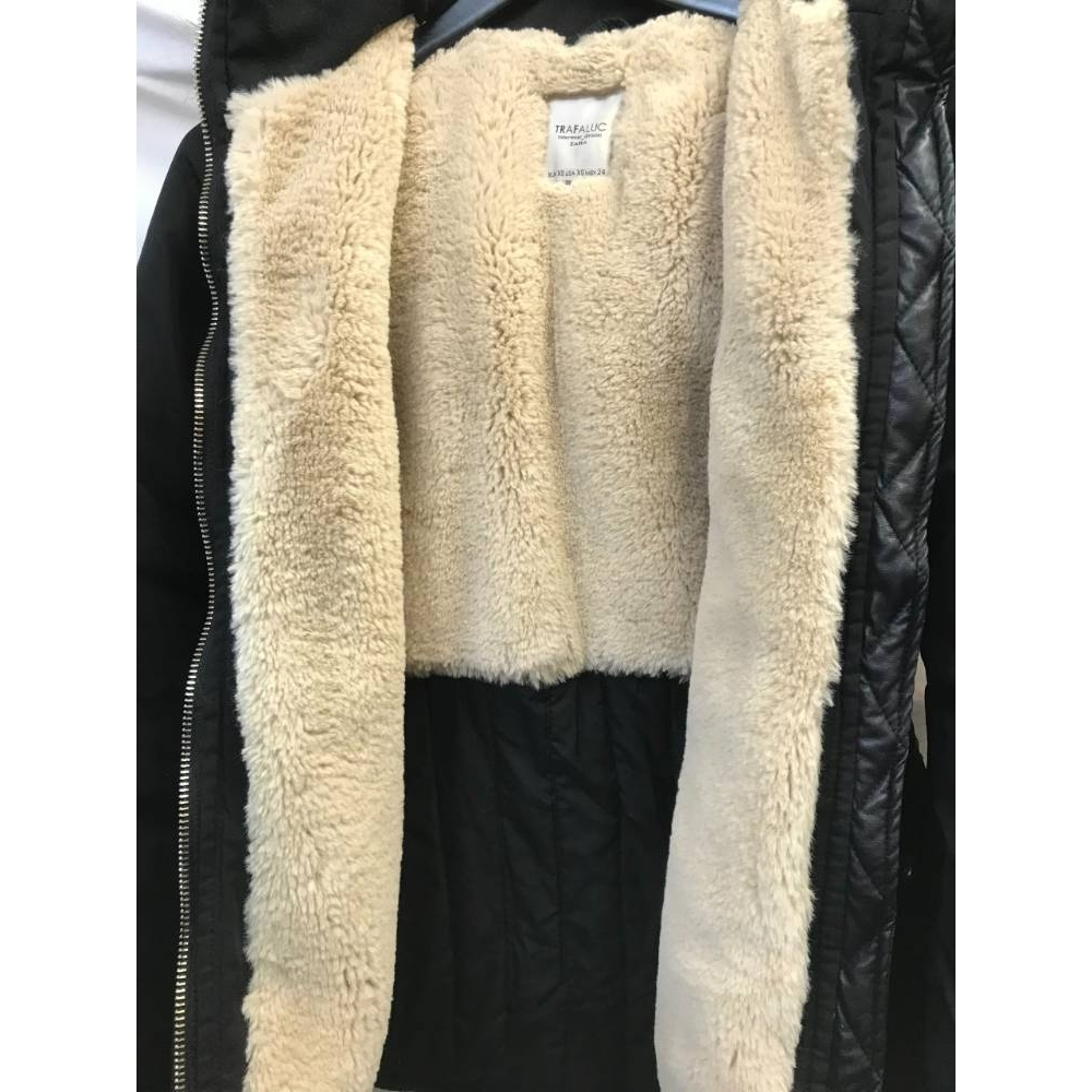 Preview of the first image of Zara Trafaluc fur lined jacket black Size: XS.