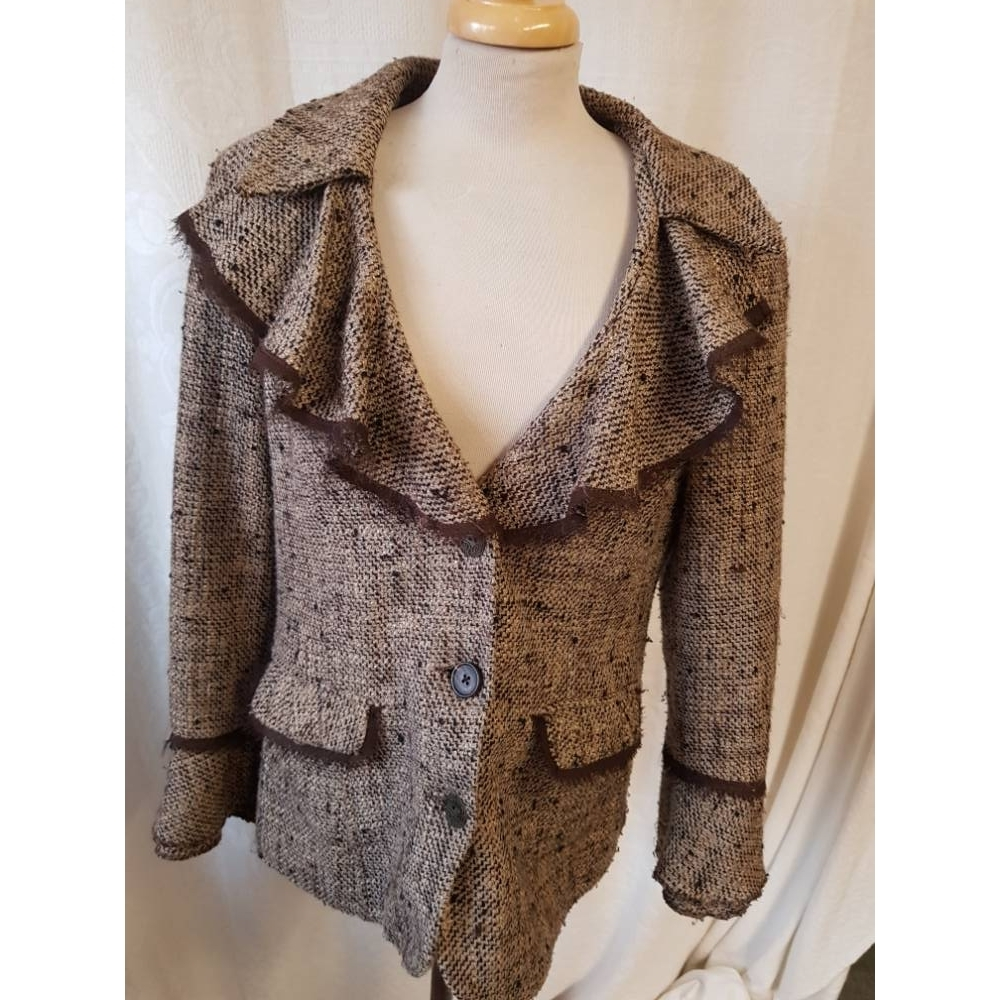 Preview of the first image of Per Una Tweed Blazer Jacket  Beige and Brown Size: 12.