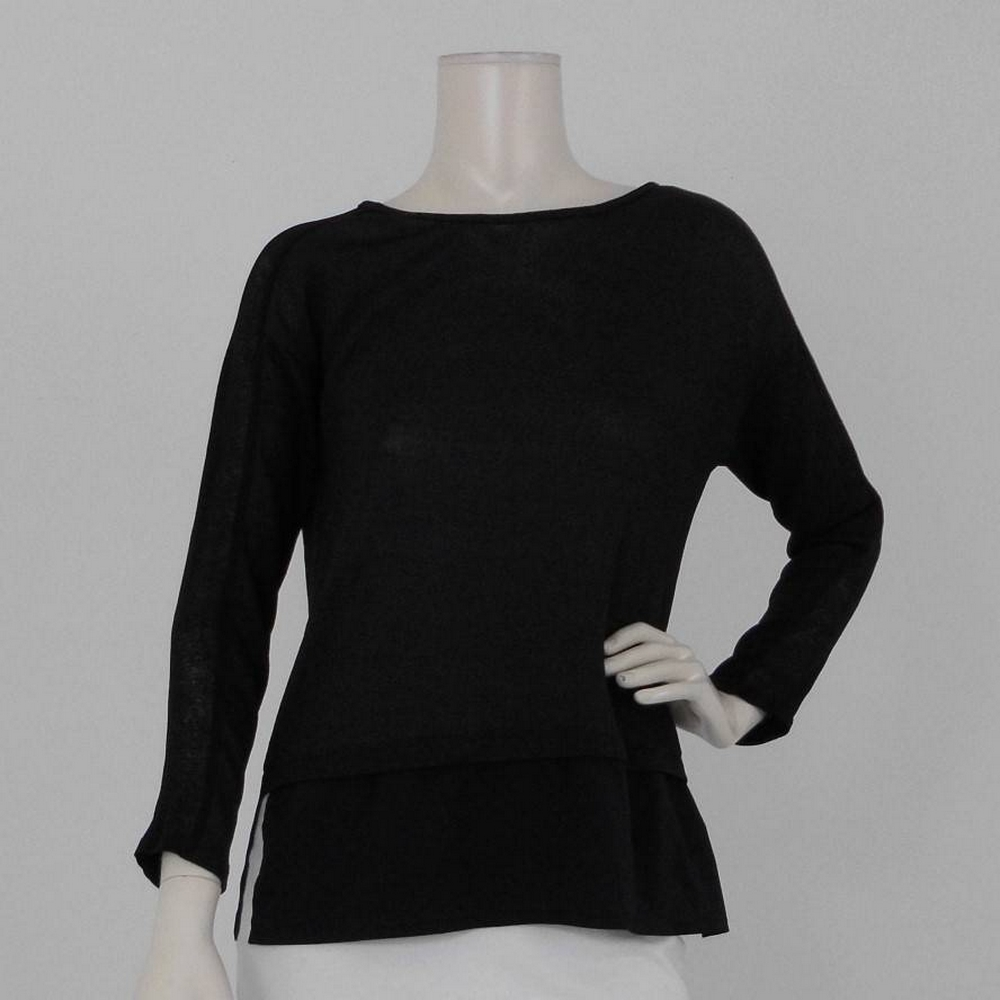 Preview of the first image of Zara Contrast Sleeve and Hem Top  Black Size: S.