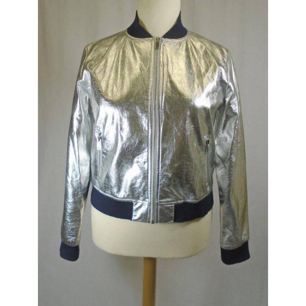 Preview of the first image of Zara basics Ladies embroidered jacket Silver Size: L.