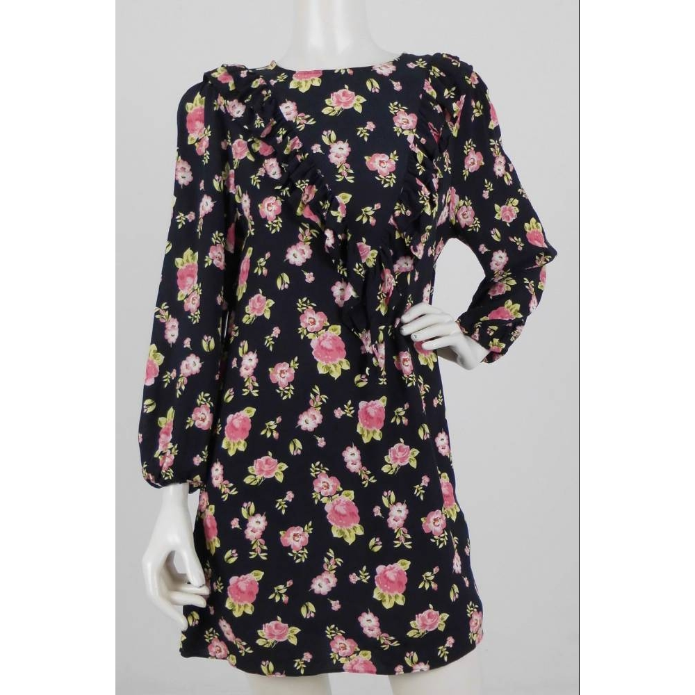 Preview of the first image of Zara Floral Print Frill Trim Dress Black & Pink Size: L.