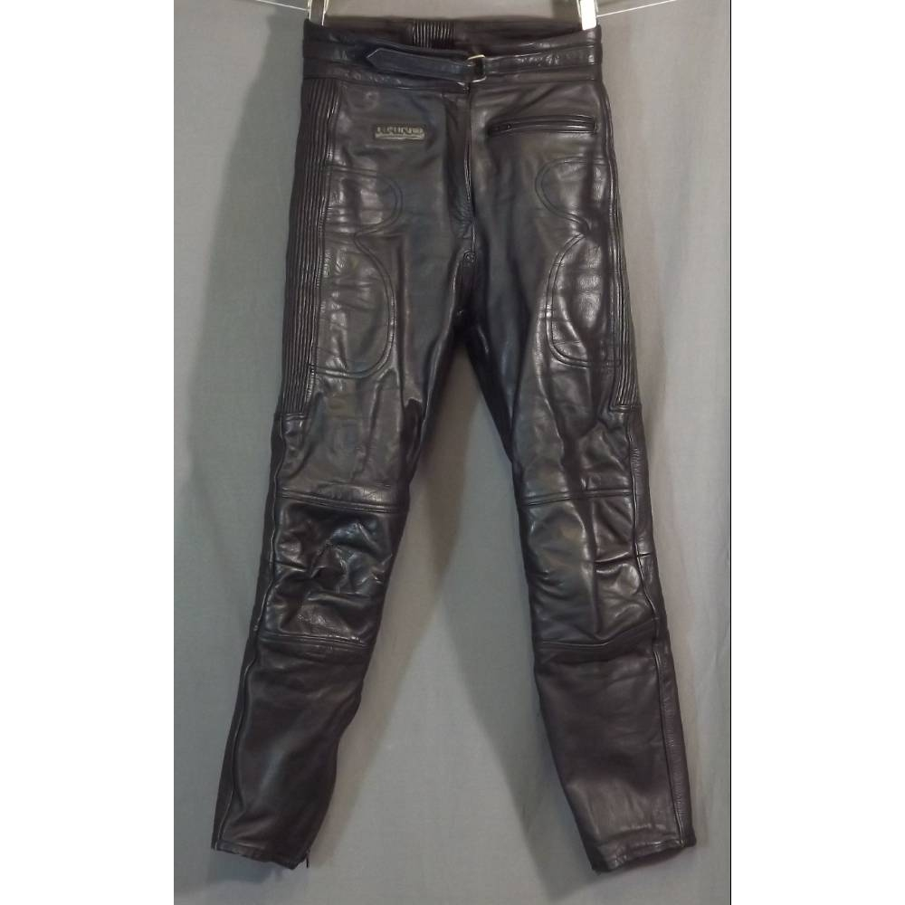 """Preview of the first image of Rhino UK size 10 Leather motorbike trousers in black Size: 28""""."""