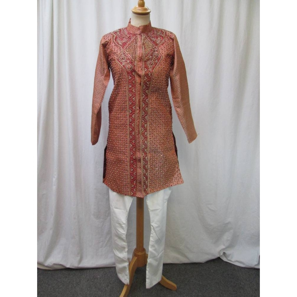 Preview of the first image of Men's/Youth's Indian Wedding Sherwani Outfit with beads and sequins in gold, apricot and orange..