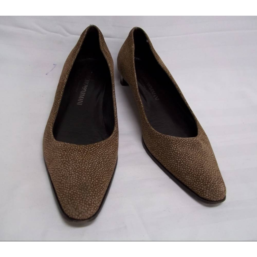 Preview of the first image of Emporio Armani Shoes  Brown Size: 6.