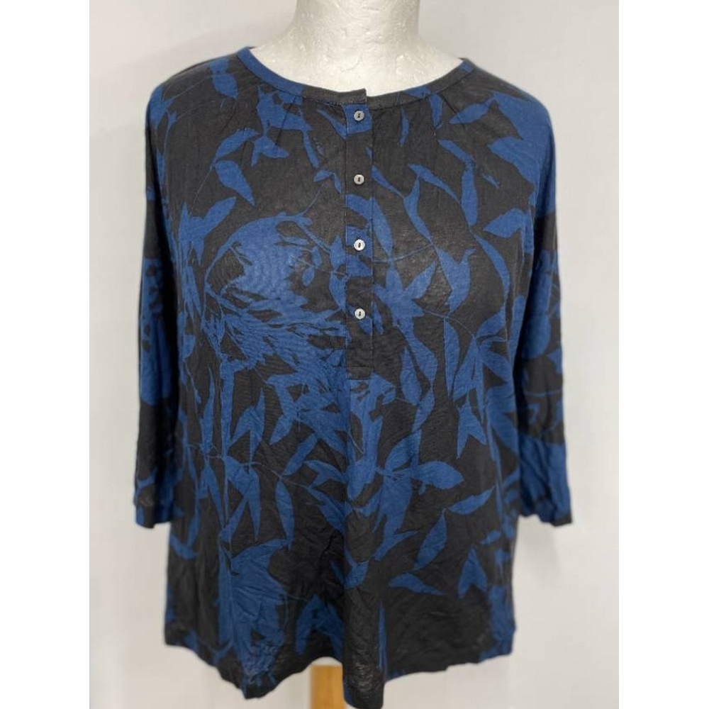 Preview of the first image of Wrap Linen Mix Jersey Tunic Top Blue & Black Size: 16.