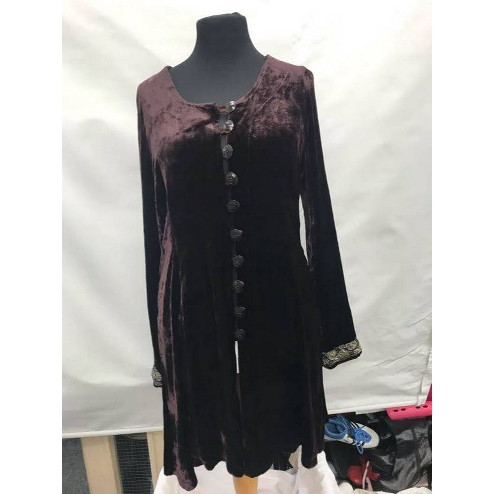 Preview of the first image of Out of Xile Dress Coat Burgandy Size: S.