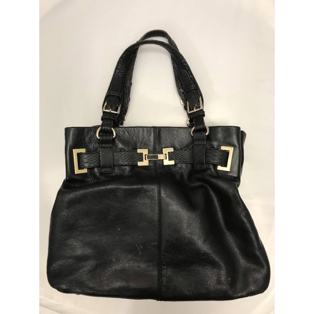 Preview of the first image of Reiss leather holdall handbag black Size: Not specified.