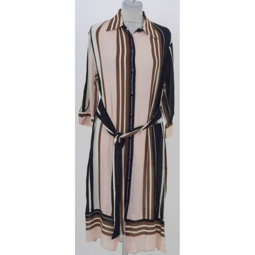 Preview of the first image of Zara Basic Striped Shirt Dress Pink/Brown Mix Size: S.