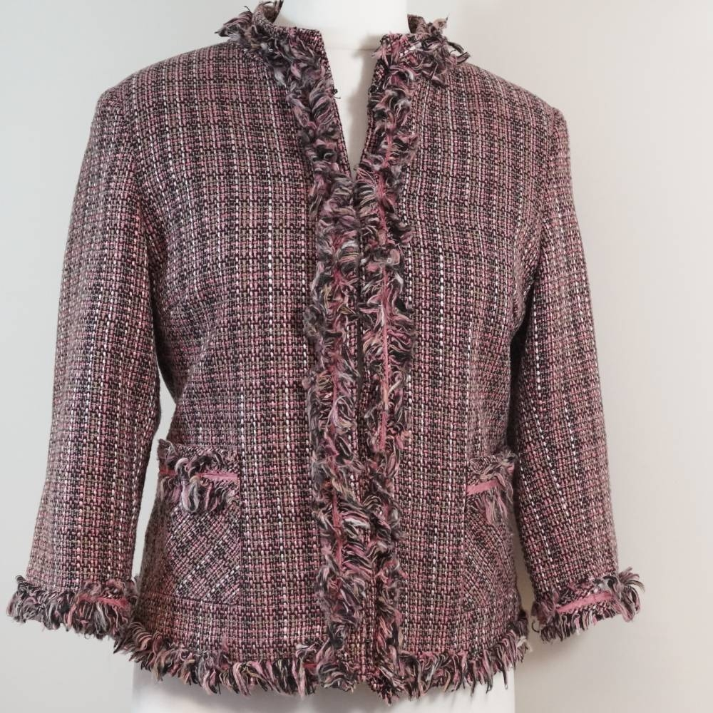 Preview of the first image of Per Una Tweed Jacket Pink Size: 12.