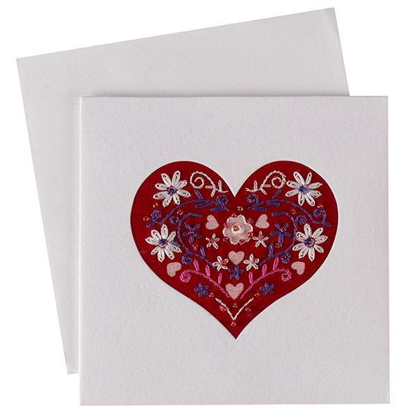 Embroidered Heart Card (Single)
