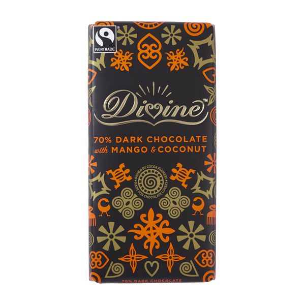 Divine Dark Chocolate with Mango & Coconut: Case of 15 100g Bars