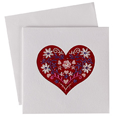 Hand Embroidered Heart Card