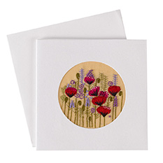 Hand Embroidered Poppy Card