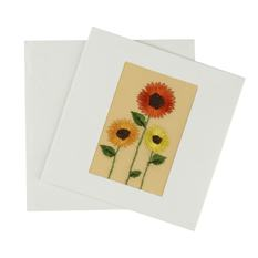 Embroidered Sunflowers Card (Single)