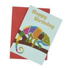 Chameleon Birthday Card (Single)