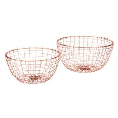 Set of Two Copper Baskets