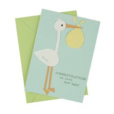 Stork New Baby Card (Single)