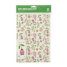 Vintage Floral White Kraft Gift Wrap and Tags