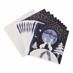 Large Moonlight Bunnies Christmas card (10 pack)