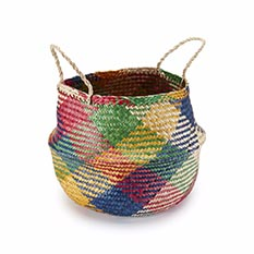 Handwoven Carnival Seagrass Large Basket