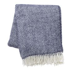 Navy Pure Wool Throw