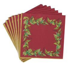 20 Red Festive Foliage Paper Napkins