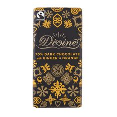 Divine Dark Chocolate with Ginger & Orange: Case of 15 x 100g Bars