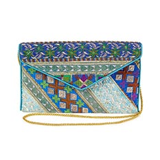 Blue Recycled Sari Clutch Bag