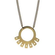 Inca Fan Brass Necklace