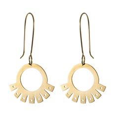 Inca Fan Brass Earrings