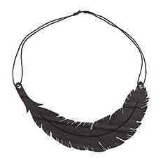 Recycled Rubber Feather Necklace