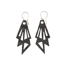 Recycled Rubber Geo Earrings