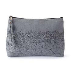 Large Grey Geo Wash Bag