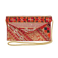 Red Recycled Sari Clutch Bag