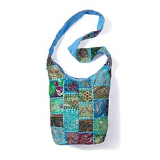 Blue Recycled Sari Cross Body Bag