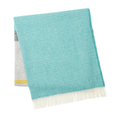 Teal Grey Panel Wool Throw
