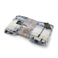 Recycled Wool Blue Check Throw