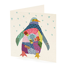 Patchwork Penguin Christmas card (10 pack)