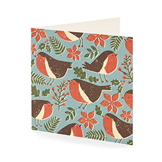 Graphic Robin Print Christmas card (10 pack)